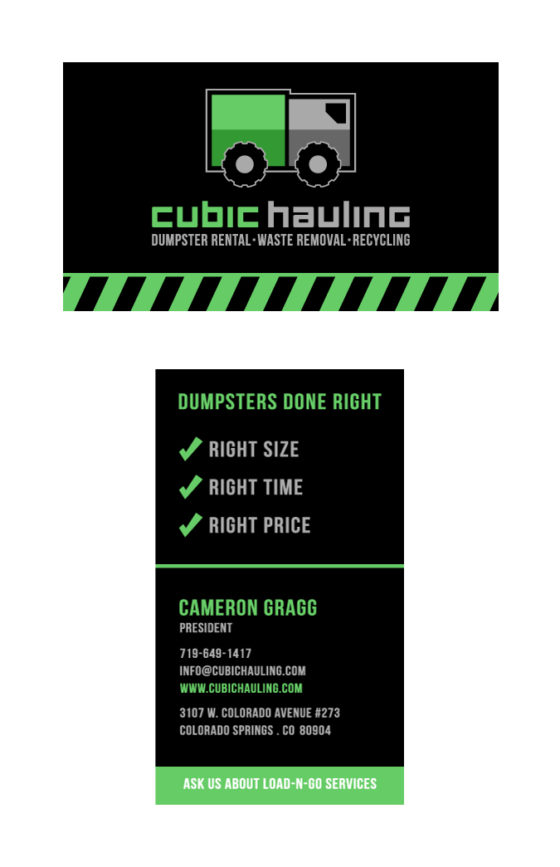 Cubic Hauling Business Cards Hi Five Design