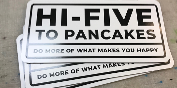 hi-five to breakfast, breakfast, pancakes, french toast, waffles, bacon and eggs, art, design, cool art, signs