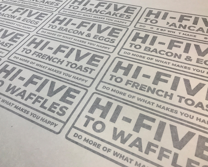 hi-five to breakfast, breakfast, pancakes, french toast, waffles, bacon and eggs, art, design, cool art, signs, hi-five design