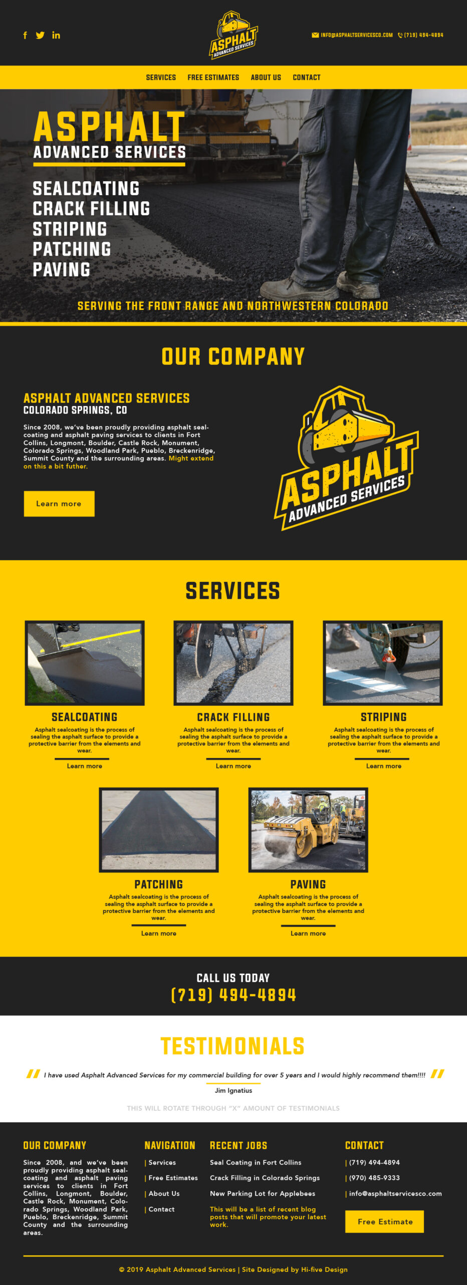 hi-five design, concrete website, concrete website design, asphalt web design, asphalt website, construction website design, construction web design