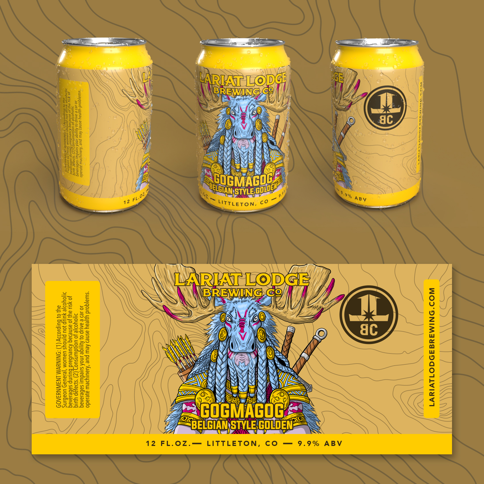 belgian golden beer label design, beer label design, colorado beer label, colorado beer, colorado microbeer, amber beer label, beer label design, beer can label design, hi-five design