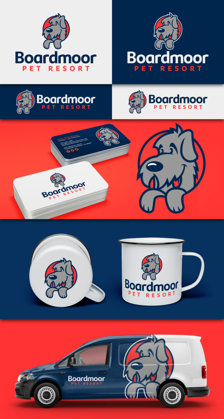 dog boarding logo design, dog boarding, dog pound logo, dog logo, irish wolfhound logo, pet logo, dog logo colorado, hi-five design colorado springs, graphic designer colorado springs
