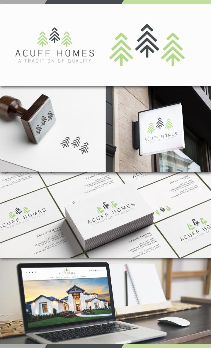 house logo design, tree logo design, pine tree logo design, best logo designer colorado springs, hi-five design, custom home logo design, graphic designer colroado springs