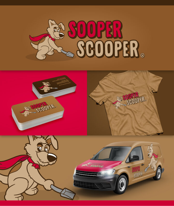 dog logo design, dog cartoon, super dog cartoon, dog poop logo, poop scoop logo, hi-five design, hi-five design colorado springs