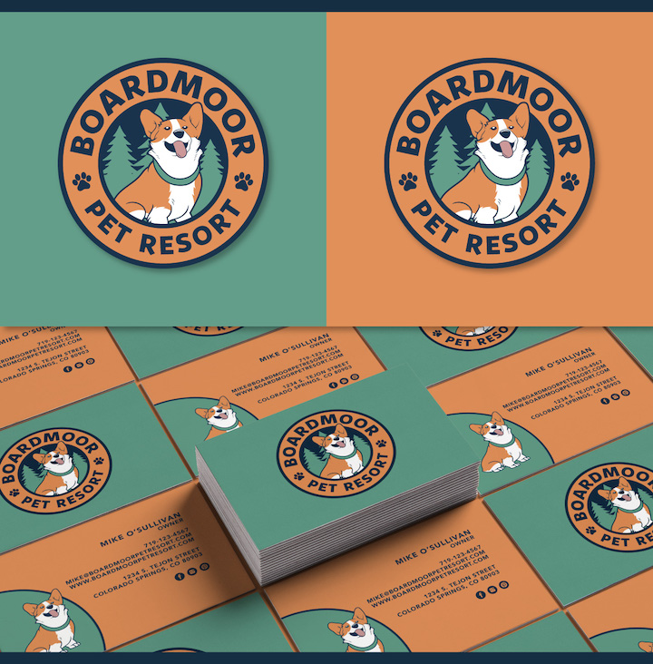 dog boarding logo design, dog boarding, dog pound logo, dog logo, irish wolfhound logo, pet logo, dog logo colorado, hi-five design colorado springs, graphic designer colorado springs, corgy design, corgy logo, corgy logo design, corgy dog logo, corgy illustration