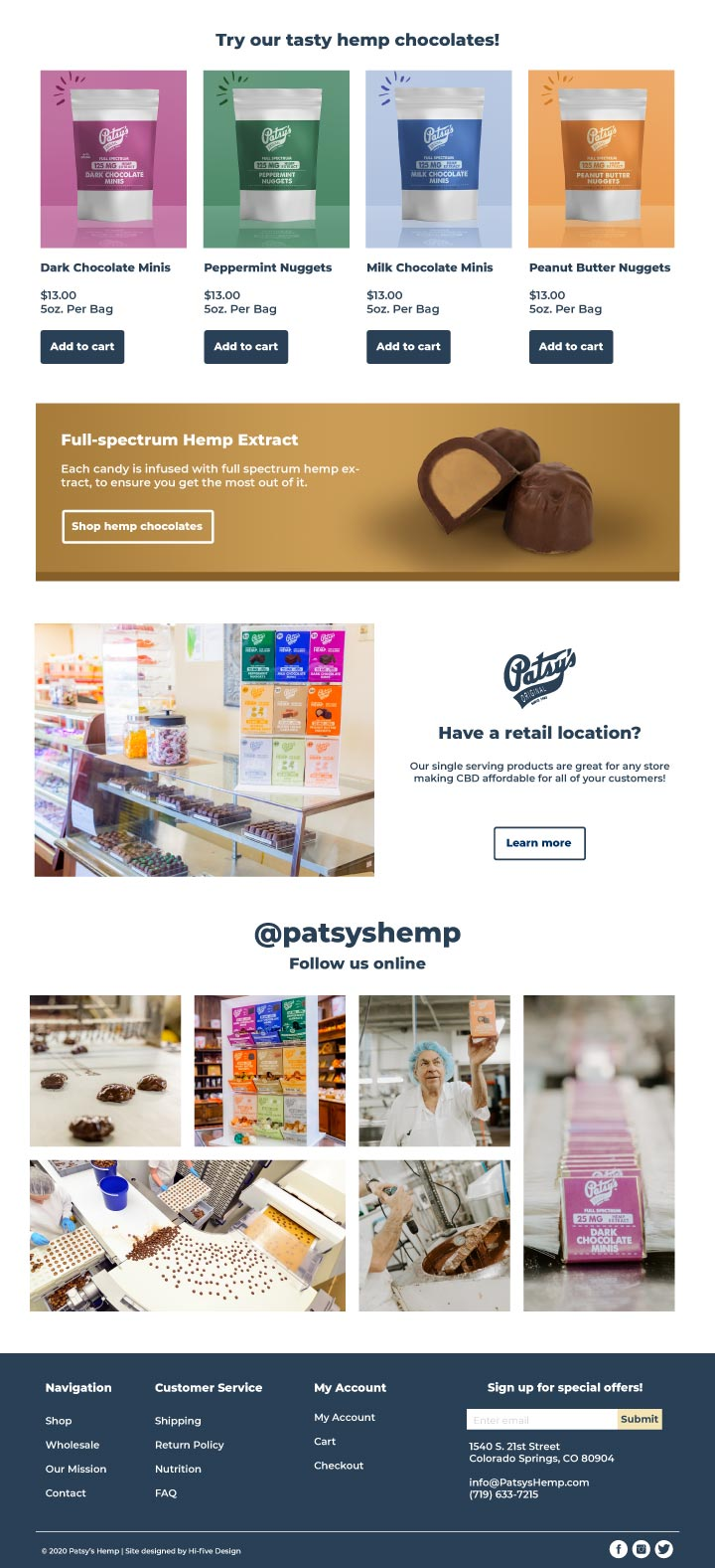 candy website, candy store website design, chocolate bar website design, bakery website design, hi-five design, website designer colorado springs, best web designer colorado springs, web developer colorado springs