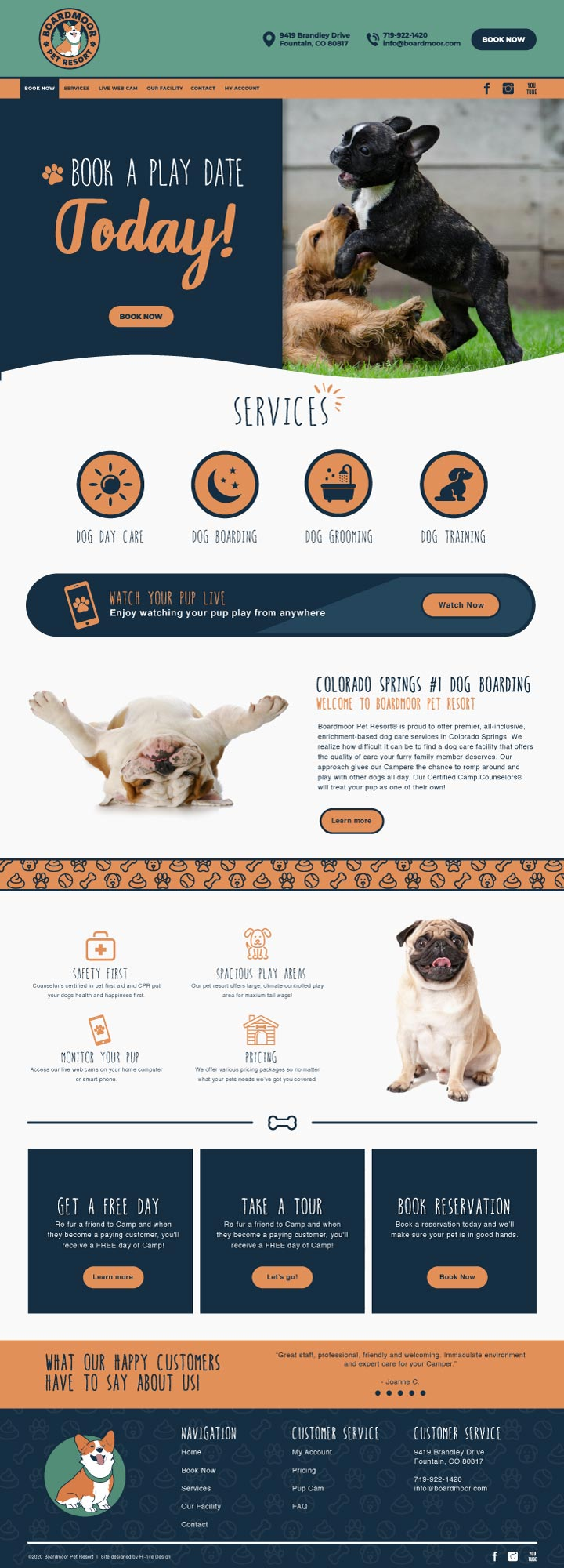 hi-five design, hi-five design colorado springs, website design colorado springs, website design denver, website designer colorado, dog website, dog training website design
