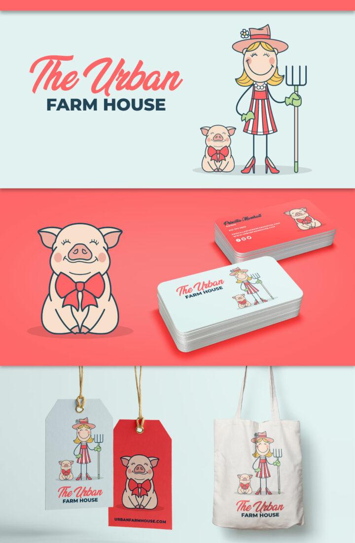 farm logo, farm house logo, pig logo, farmer logo, girl logo, hat logo, pitchfork logo, pig illustration, pig drawing, farmer drawing, farm house drawing, hi-five design, graphic designer colorado, logo designer colorado