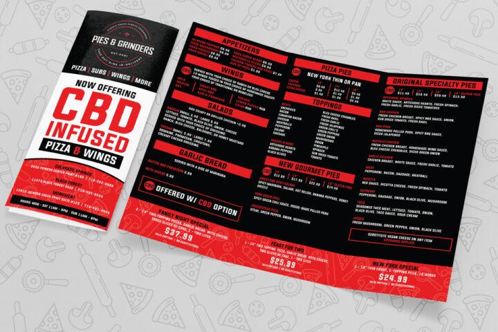 menu design, pizza menu design, menu designer colorado springs, restaurant menu design, hi-five design, graphic designer colorado springs