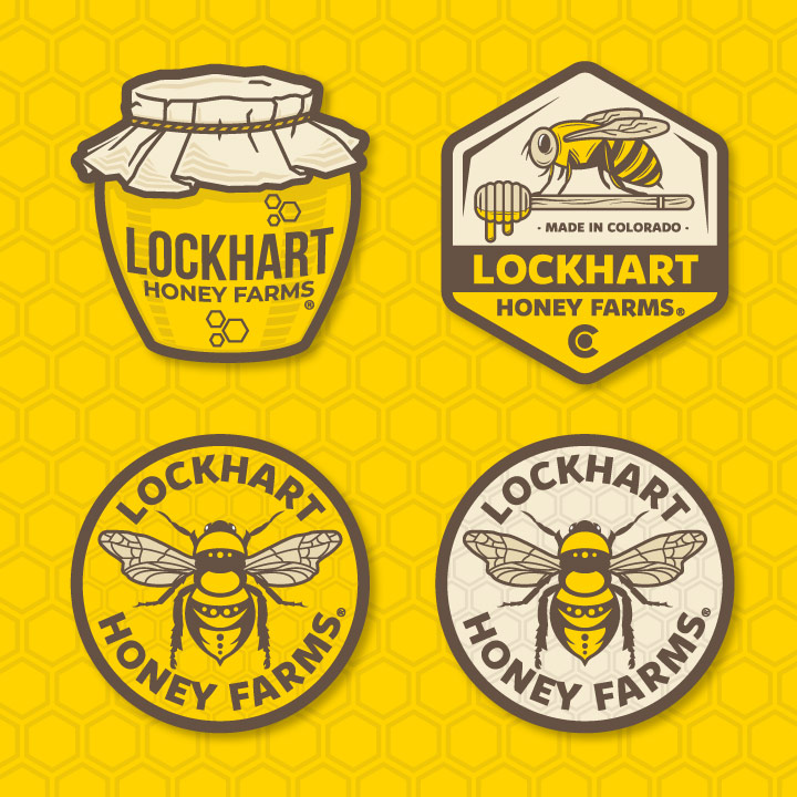 honey sticker design, honey logo, bee logo, bee sticker, bee illustration, honey illustration, honey drawing, bee drawing, hi-five design, logo designer colorado springs, logo designer denver, illustrator colorado springs