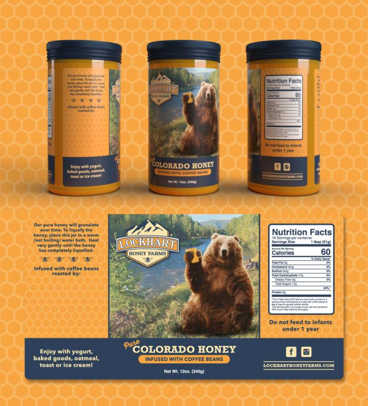 honey label design, honey label, bear label design, bear and honey logo, bear and honey label, bear and honey illustration, label designer colroado springs, label maker colorado springs, hi-five design, graphic designer colorado springs